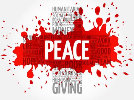 generosity: Peace word cloud collage, cross concept Illustration
