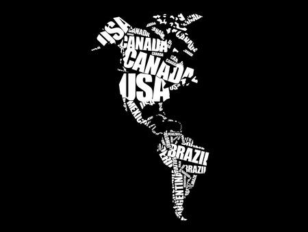 map bolivia: Mapa de América en la tipografía concepto de nube de palabras, nombres de países Vectores