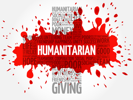 Humanitarian word cloud collage, cross concept Illustration