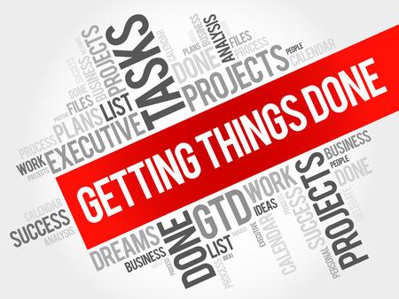 Getting Things Done Wortwolke, Business Konzept Hintergrund Vektorgrafik