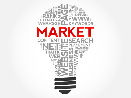 MARKET bulb word cloud collage, business concept background Illustration