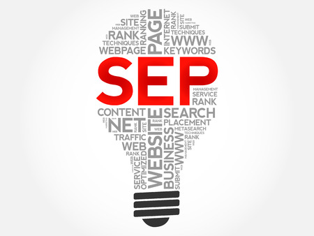 SEP (search engine positioning) bulb word cloud collage, business concept background