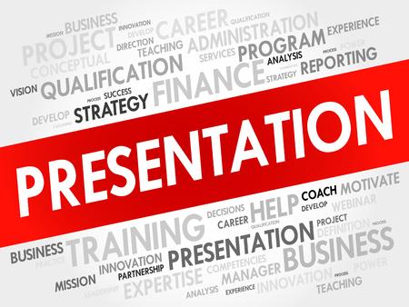 Presentation word cloud, business concept Illustration