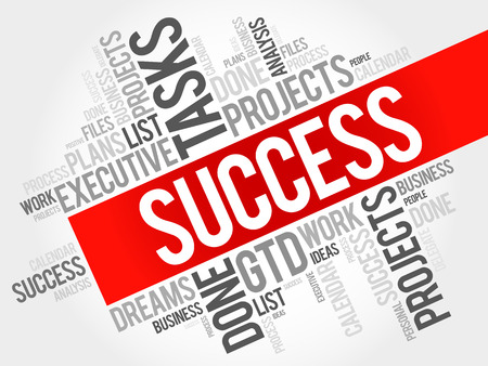 success word: SUCCESS word cloud collage, business concept background
