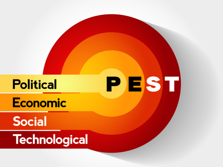 PEST (Political, Economic, Social, Technological) Business Infographic target, presentation diagram, analysis strategy concept