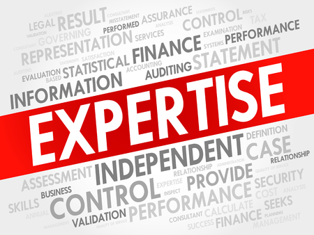expertise concept: EXPERTISE word cloud collage, business concept background