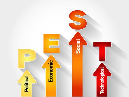 strategic focus: PEST (Political, Economic, Social, Technological) Business Infographic target, presentation diagram, analysis strategy concept