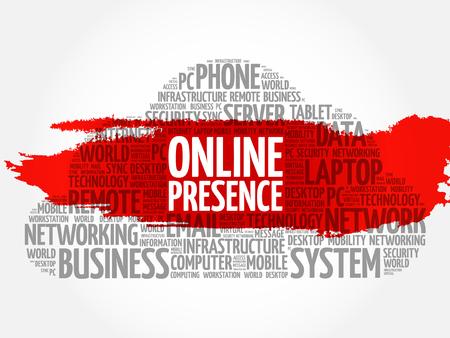 web presence internet presence: Online Presence word cloud collage, business concept background