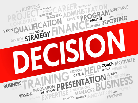 prioritization: Decision word cloud, business concept