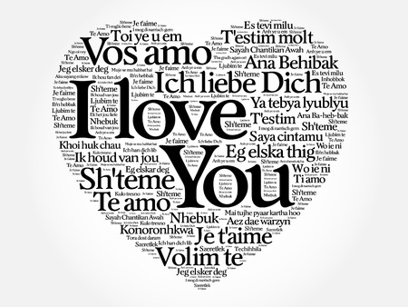 I Love You heart concept in all languages of the world