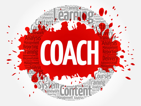 leadership potential: COACH circle word cloud, business concept