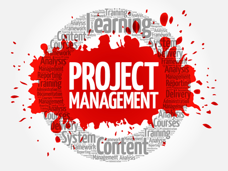 Project Management circle word cloud, business concept