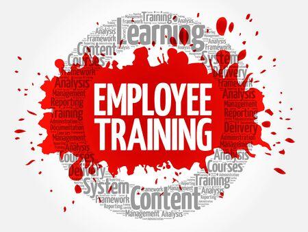 tecla enter: Nube de palabra de círculo de entrenamiento de empleados, concepto de negocio