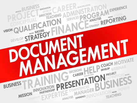 document management: Document Management word cloud collage, business concept background