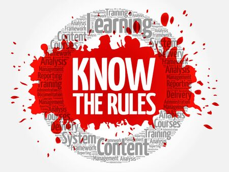 Know the Rules circle word cloud, business concept Illustration
