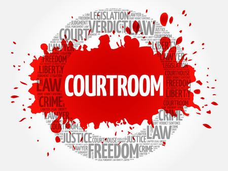 supreme court: Courtroom word cloud concept Illustration