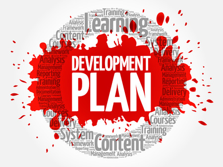 Development plan circle word cloud, business concept