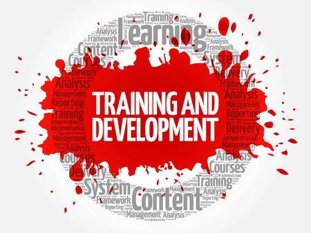 career coach: Training and Development circle word cloud, business concept