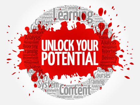 Unlock your potential circle word cloud, business concept