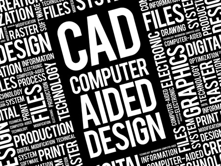 CAD - Computer Aided Design word cloud, business concept background Illustration