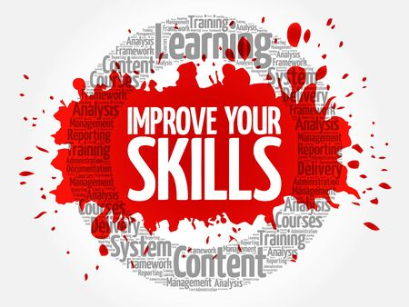 Improve Your Skills circle word cloud, business concept