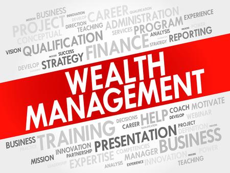 stockmarket: Wealth Management word cloud collage, business concept background Illustration