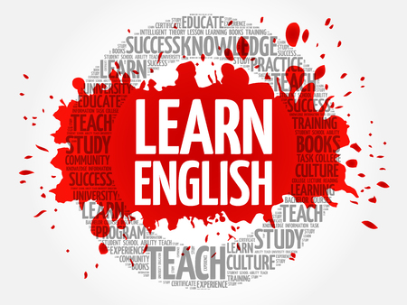 Learn English word cloud, education concept