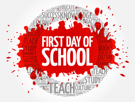 First day of school word cloud, education concept