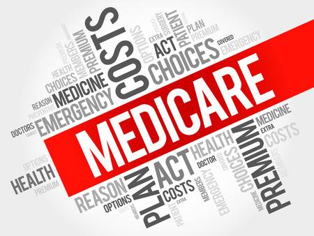 Medicare-Wortwolkencollage, Gesundheitskonzepthintergrund