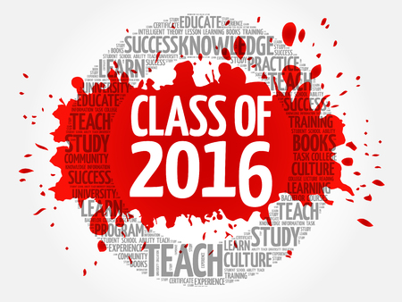 school years: CLASS OF 2016 word cloud, education concept background