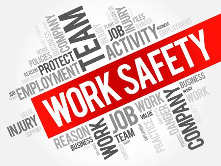 Work Safety word cloud collage with terms such as employee, company, business concept background