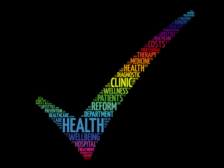 HEALTH check mark, health concept word cloud