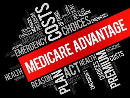 advantage: Medicare Advantage word cloud collage, health concept background