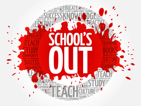 Schools Out word cloud, education concept
