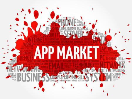 APP Market word cloud conceptb Illustration