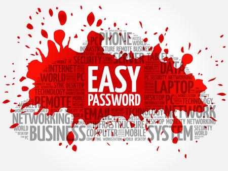 Easy Password word cloud concept Illustration