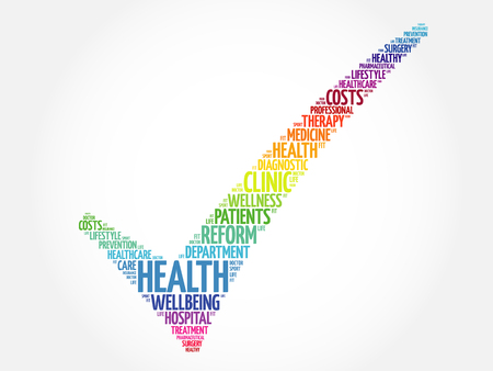 HEALTH check mark, health concept word cloud