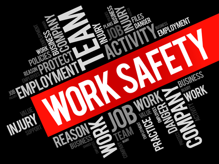 Werkveiligheid woordwolk collage met termen zoals werknemer, bedrijf, zakelijke concept achtergrond