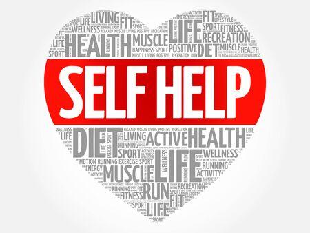 Selbsthilfe Herz Wort Wolke, Fitness, Sport, Gesundheit Konzept
