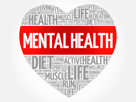Mental health heart word cloud, fitness, sport, health concept