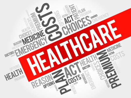 HealthCare słowo cloud kolaż, tło koncepcji zdrowia