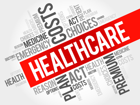 HealthCare word cloud collage, health concept background