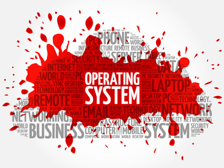 Operating System word cloud concept Illustration