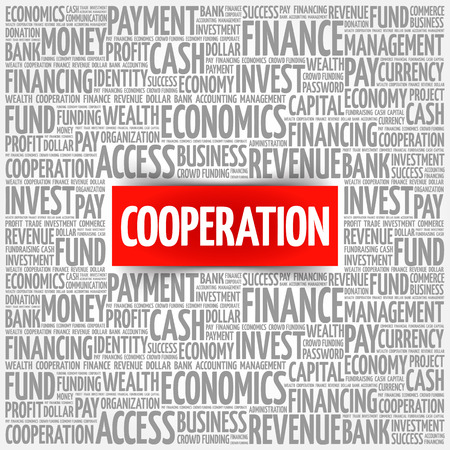 intentional: COOPERATION word cloud, business concept