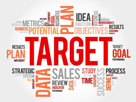 smart goals: Target word cloud, business concept Illustration