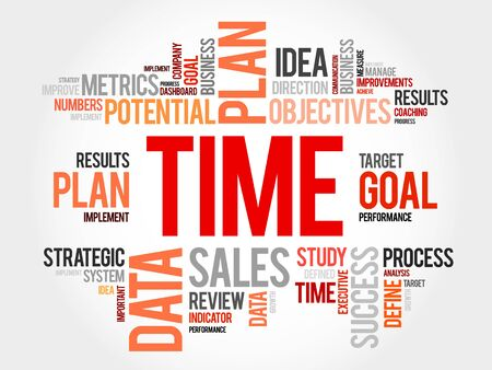 estimating: TIME word cloud collage, business concept background