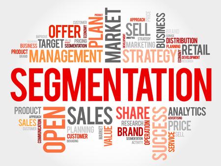 relationsip: Segmentation word cloud collage, business concept background Illustration