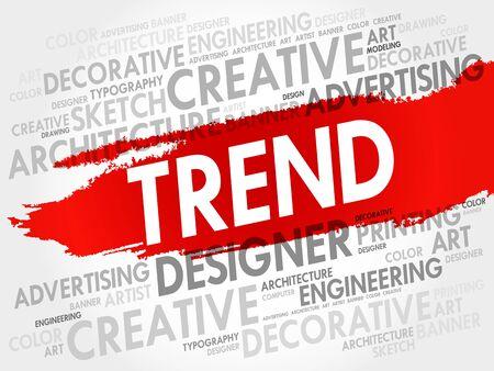 TREND woord wolk, creatieve business concept achtergrond