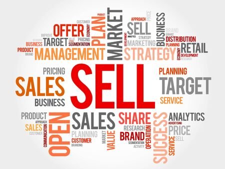 relationsip: SELL word cloud collage, business concept background Illustration
