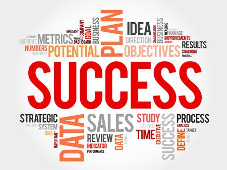 Success word cloud, business concept background